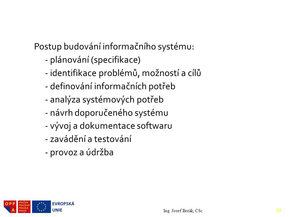 Postup budování informačního systému: - plánování (specifikace) - identifikace problémů, možností a cílů - definování informačních potřeb - analýza systémových potřeb - návrh doporučeného systému - vývoj a dokumentace softwaru - zavádění a testování - provoz a údržba