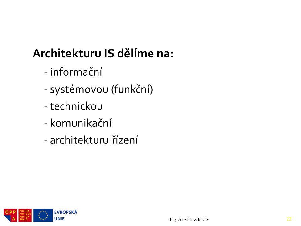 Architekturu IS dělíme na: - informační