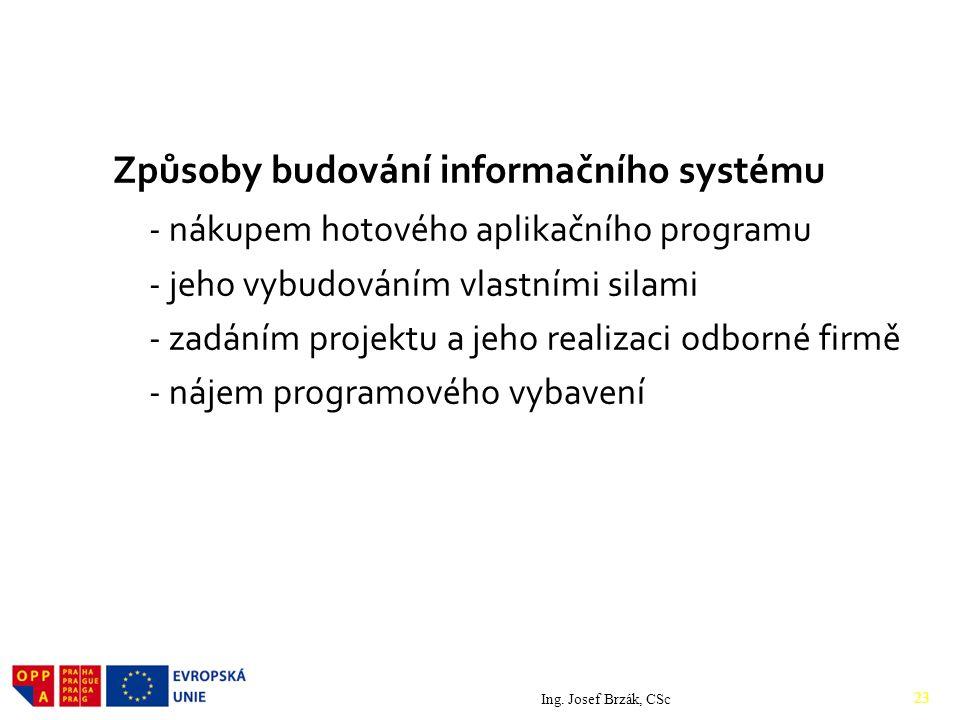 Způsoby budování informačního systému