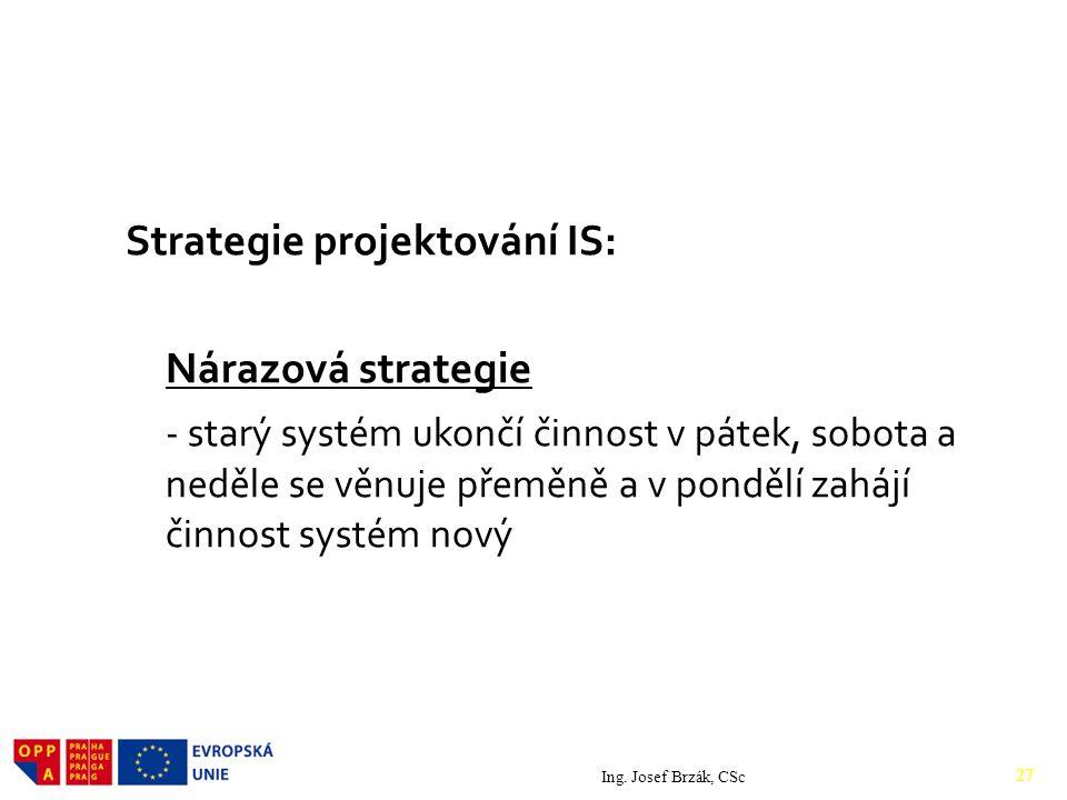 Strategie projektování IS: Nárazová strategie - starý systém ukončí činnost v pátek, sobota a neděle se věnuje přeměně a v pondělí zahájí činnost systém nový