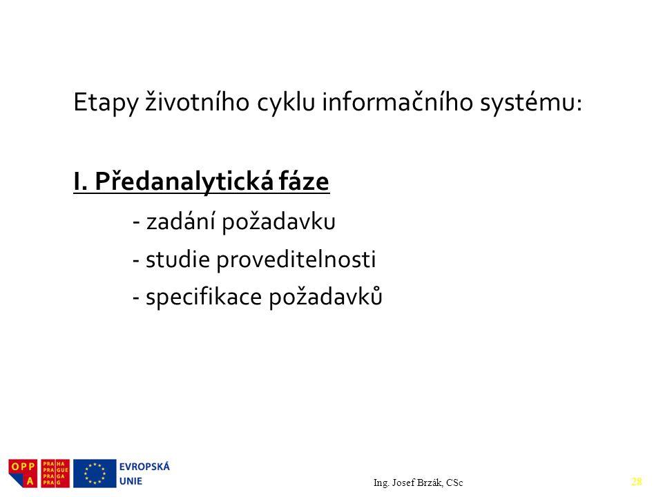 Etapy životního cyklu informačního systému: I. Předanalytická fáze