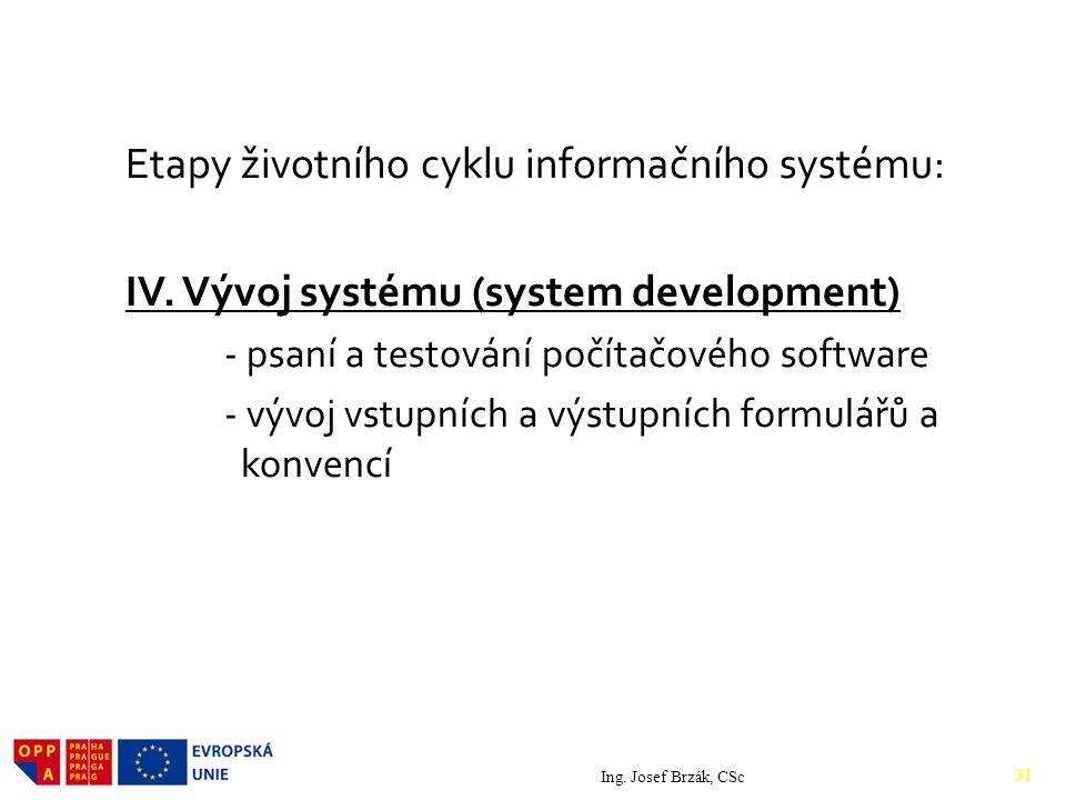 Etapy životního cyklu informačního systému: