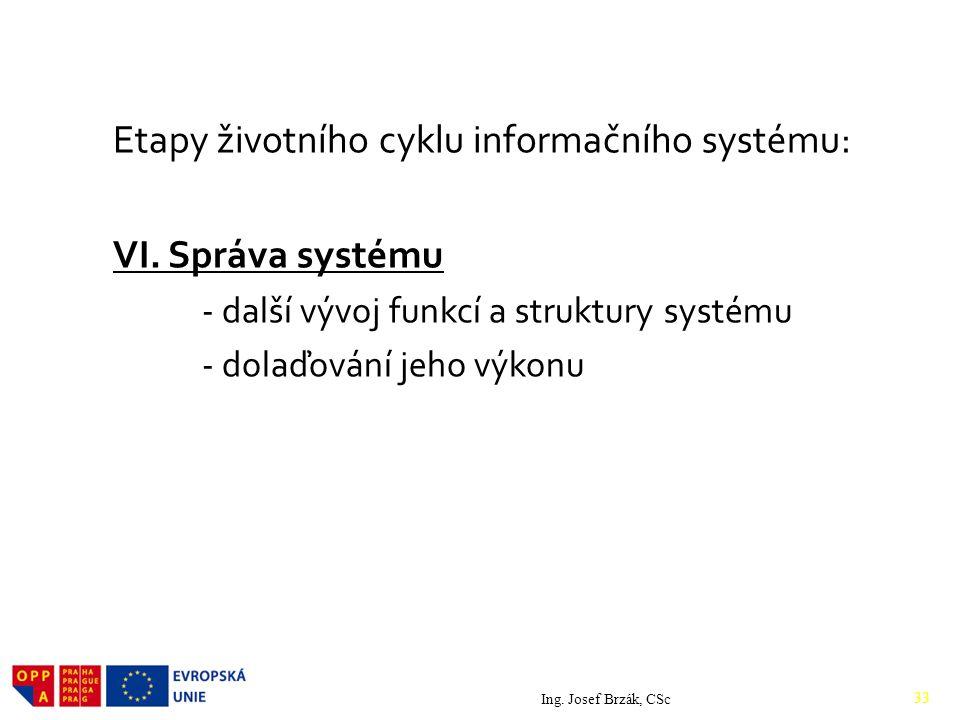 Etapy životního cyklu informačního systému: VI. Správa systému