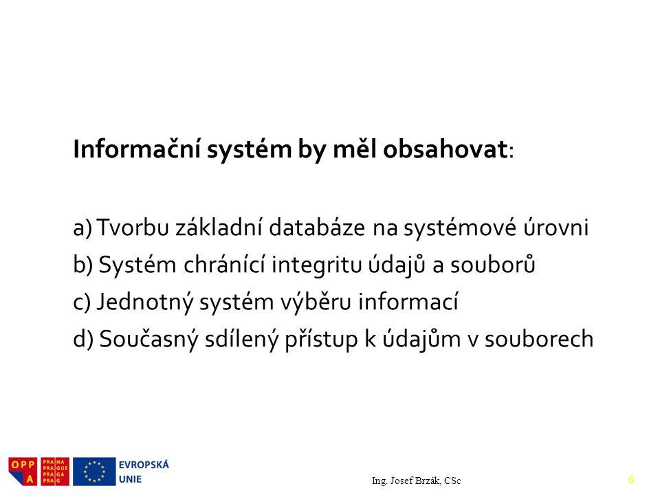 Informační systém by měl obsahovat: