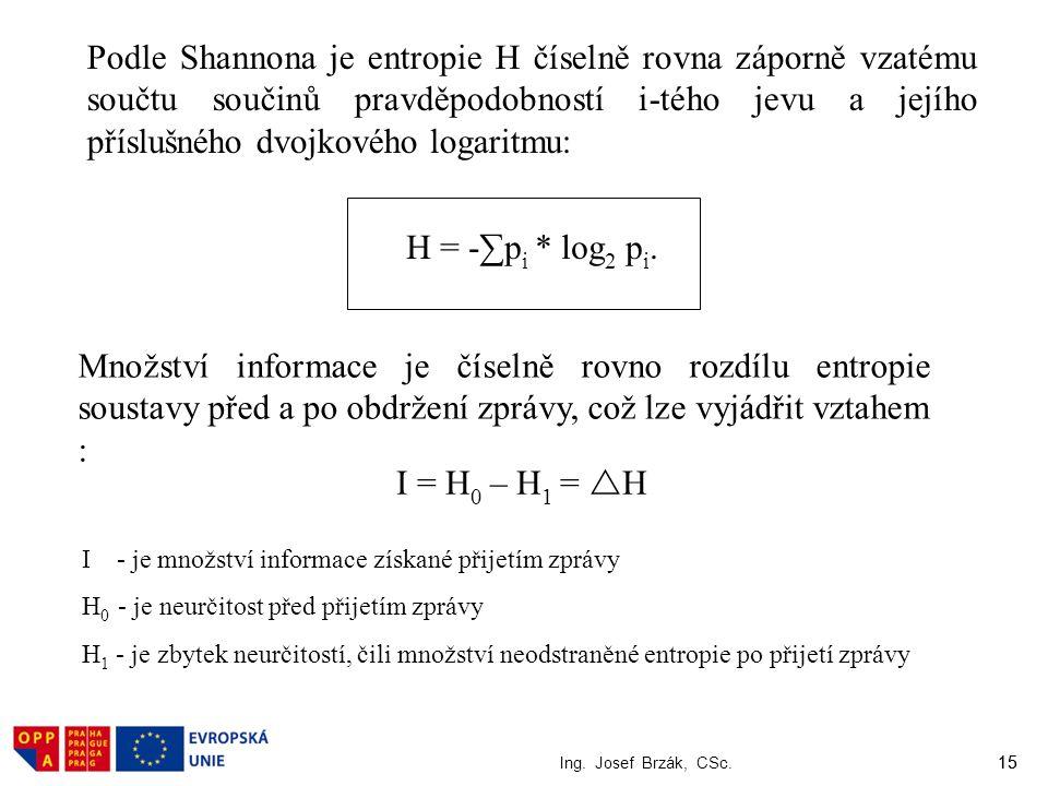 Podle Shannona je entropie H číselně rovna záporně vzatému součtu součinů pravděpodobností i-tého jevu a jejího příslušného dvojkového logaritmu: