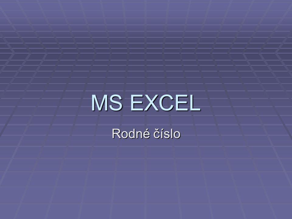 MS EXCEL Rodné číslo