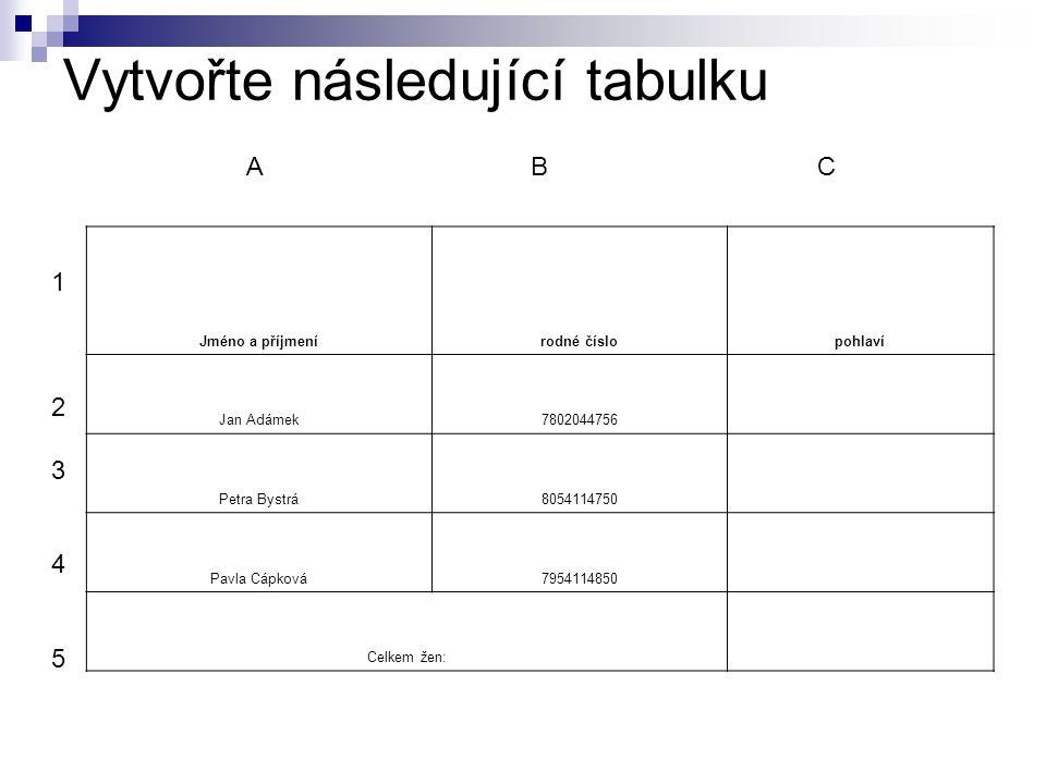 Vytvořte následující tabulku