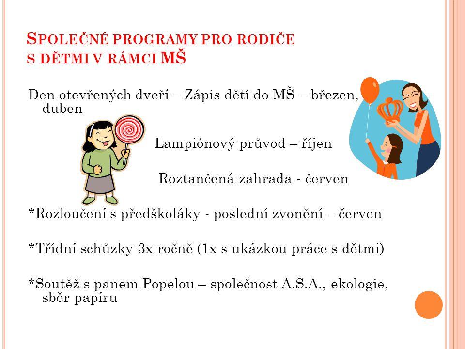 Společné programy pro rodiče s dětmi v rámci MŠ