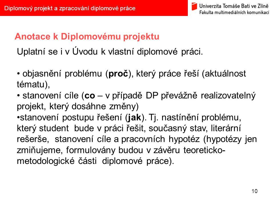 Anotace k Diplomovému projektu