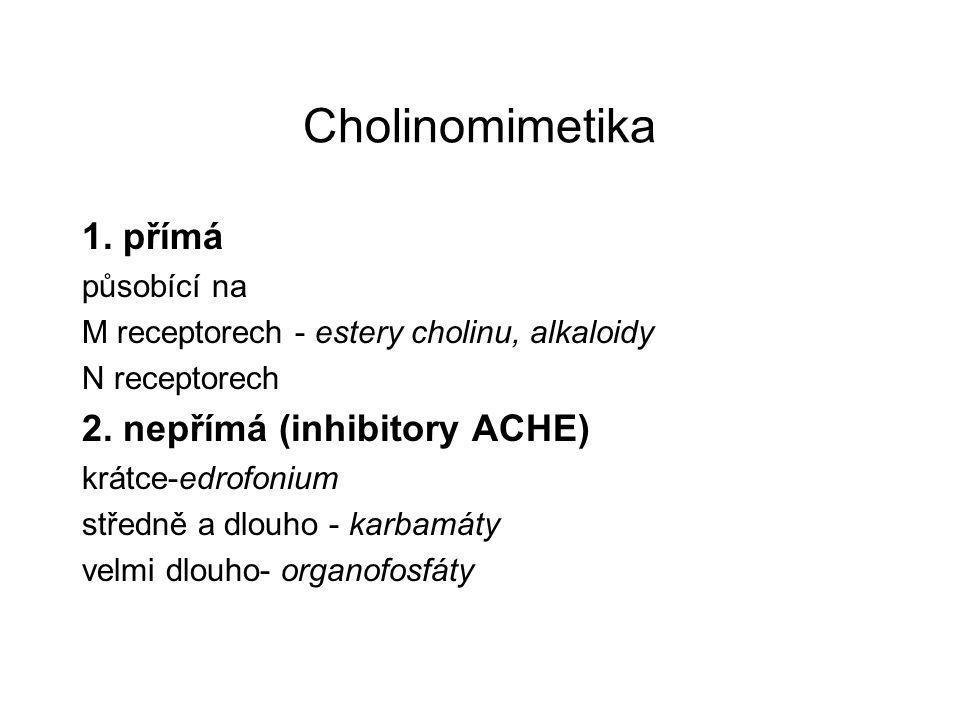 Cholinomimetika 1. přímá 2. nepřímá (inhibitory ACHE) působící na