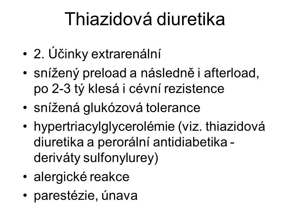 Thiazidová diuretika 2. Účinky extrarenální