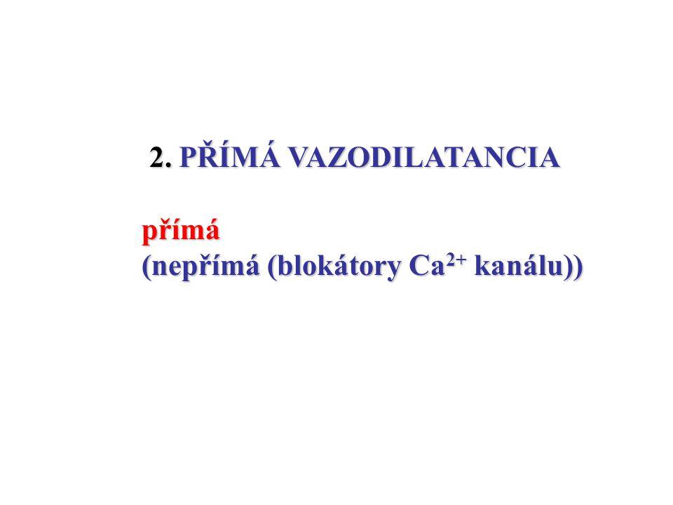 2. PŘÍMÁ VAZODILATANCIA přímá (nepřímá (blokátory Ca2+ kanálu))