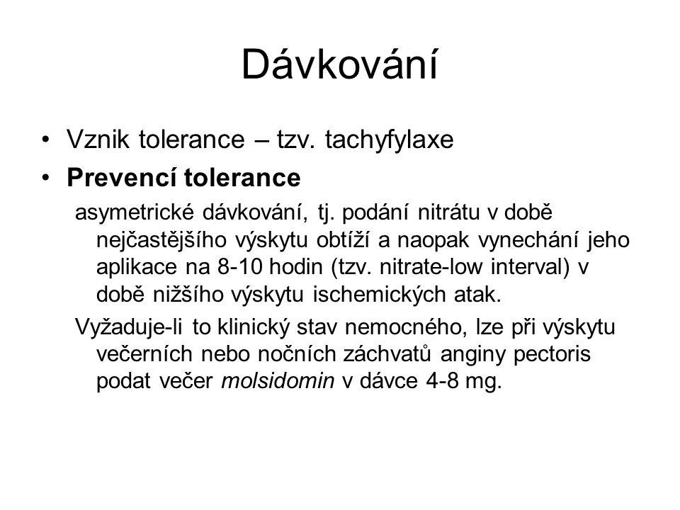 Dávkování Vznik tolerance – tzv. tachyfylaxe Prevencí tolerance