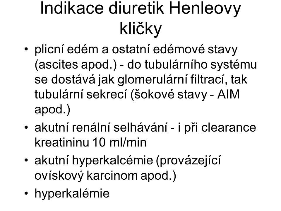 Indikace diuretik Henleovy kličky