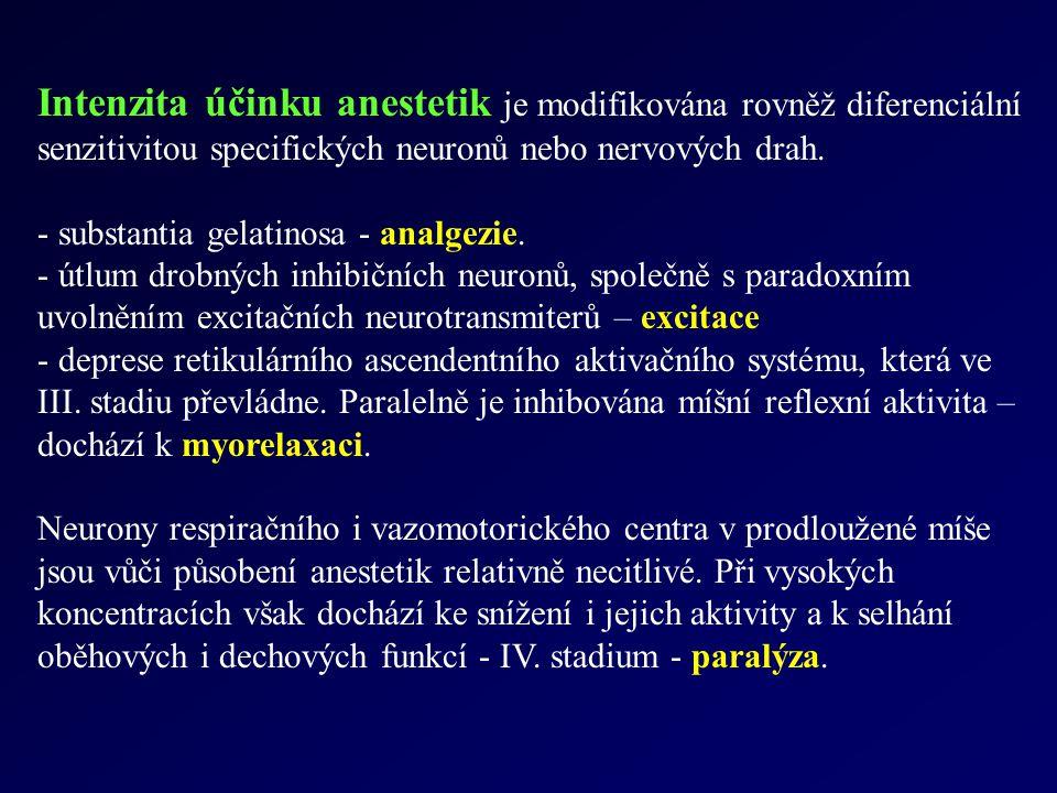Intenzita účinku anestetik je modifikována rovněž diferenciální senzitivitou specifických neuronů nebo nervových drah.