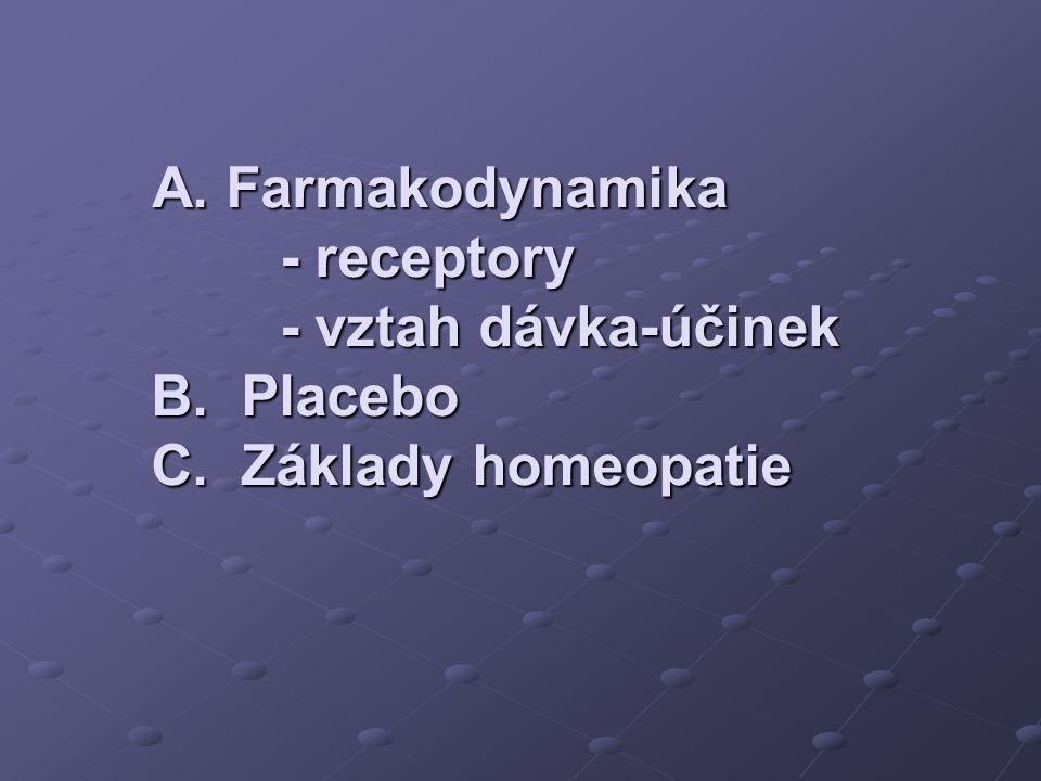A. Farmakodynamika - receptory - vztah dávka-účinek B. Placebo C