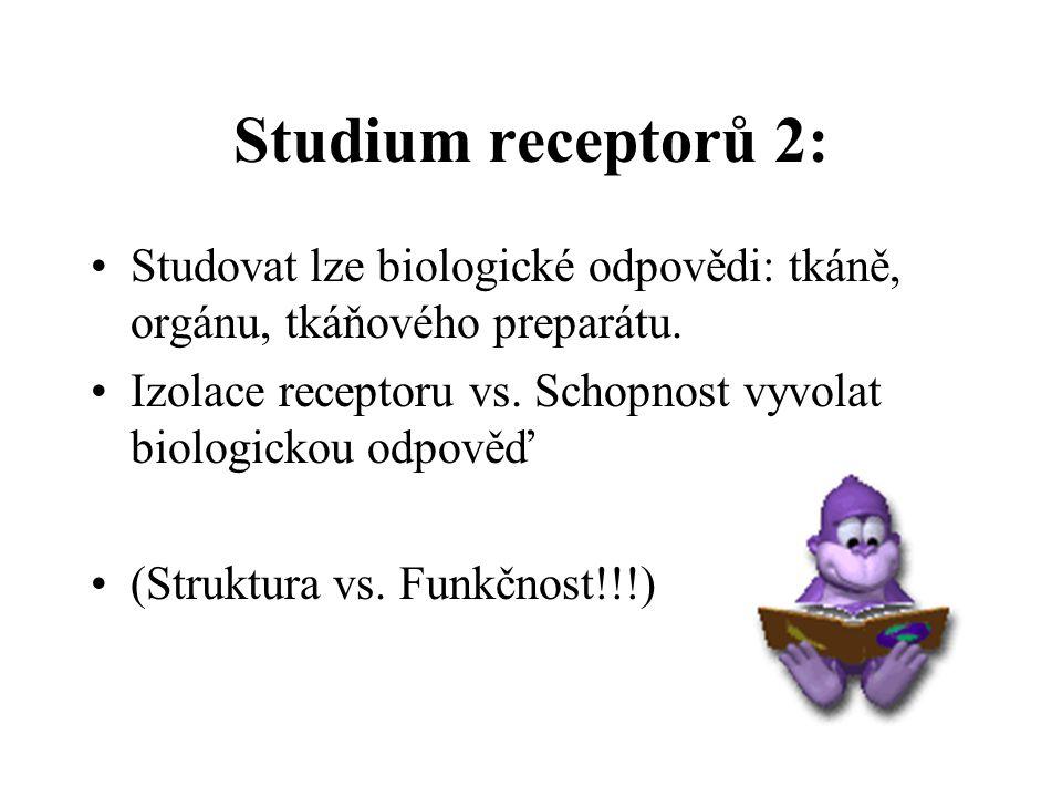 Studium receptorů 2: Studovat lze biologické odpovědi: tkáně, orgánu, tkáňového preparátu.