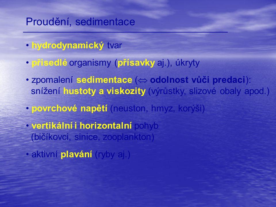 Proudění, sedimentace hydrodynamický tvar