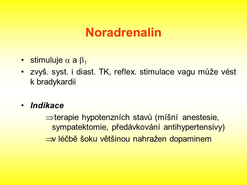 Noradrenalin stimuluje a a b1