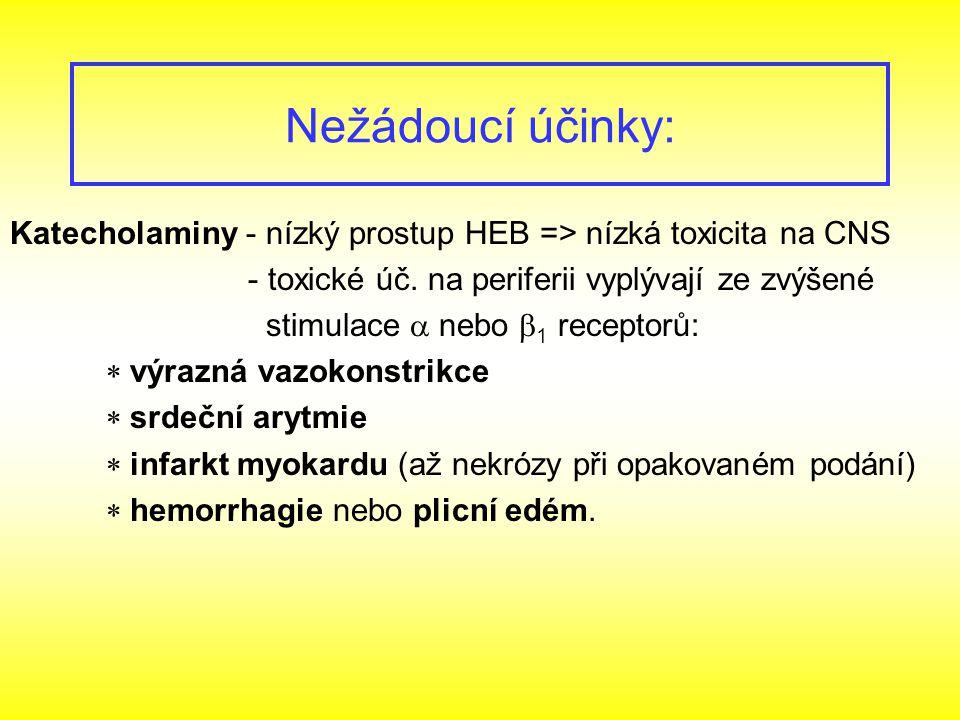 Nežádoucí účinky: Katecholaminy - nízký prostup HEB => nízká toxicita na CNS. - toxické úč. na periferii vyplývají ze zvýšené.