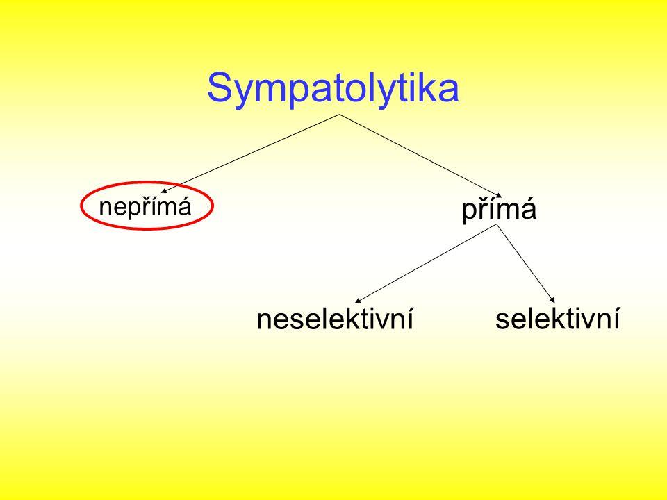 Sympatolytika nepřímá přímá neselektivní selektivní