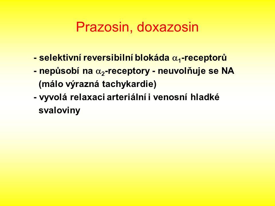 Prazosin, doxazosin - selektivní reversibilní blokáda a1-receptorů
