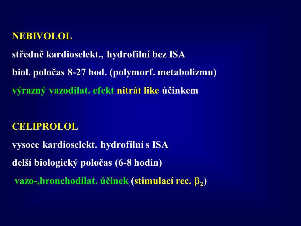 NEBIVOLOL středně kardioselekt., hydrofilní bez ISA. biol. poločas 8-27 hod. (polymorf. metabolizmu)