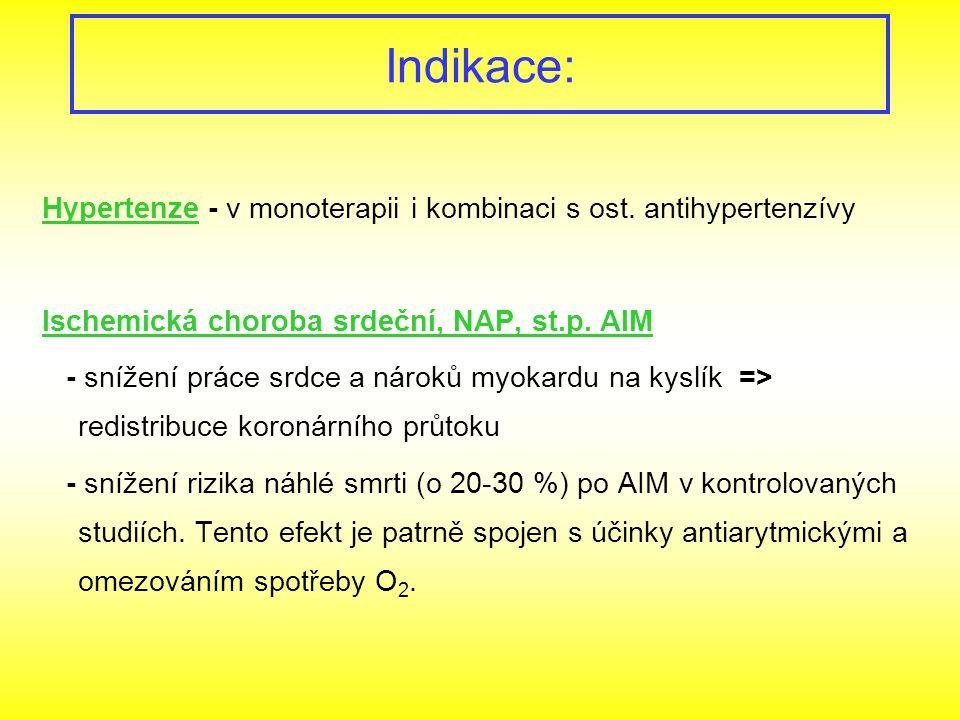 Indikace: Hypertenze - v monoterapii i kombinaci s ost. antihypertenzívy. Ischemická choroba srdeční, NAP, st.p. AIM.