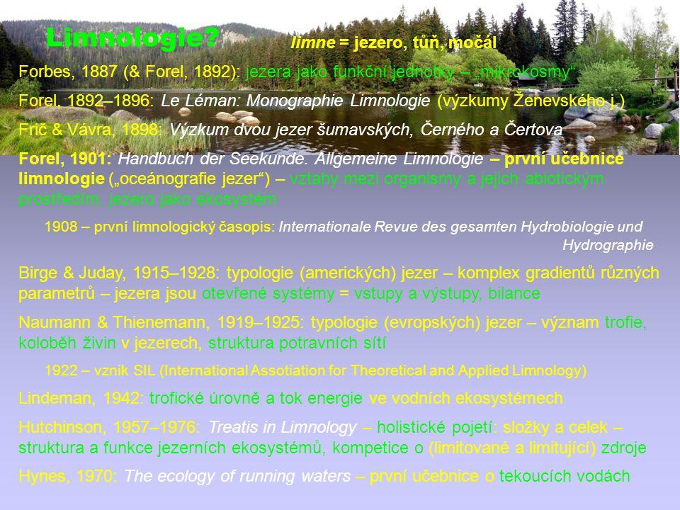Limnologie limne = jezero, tůň, močál