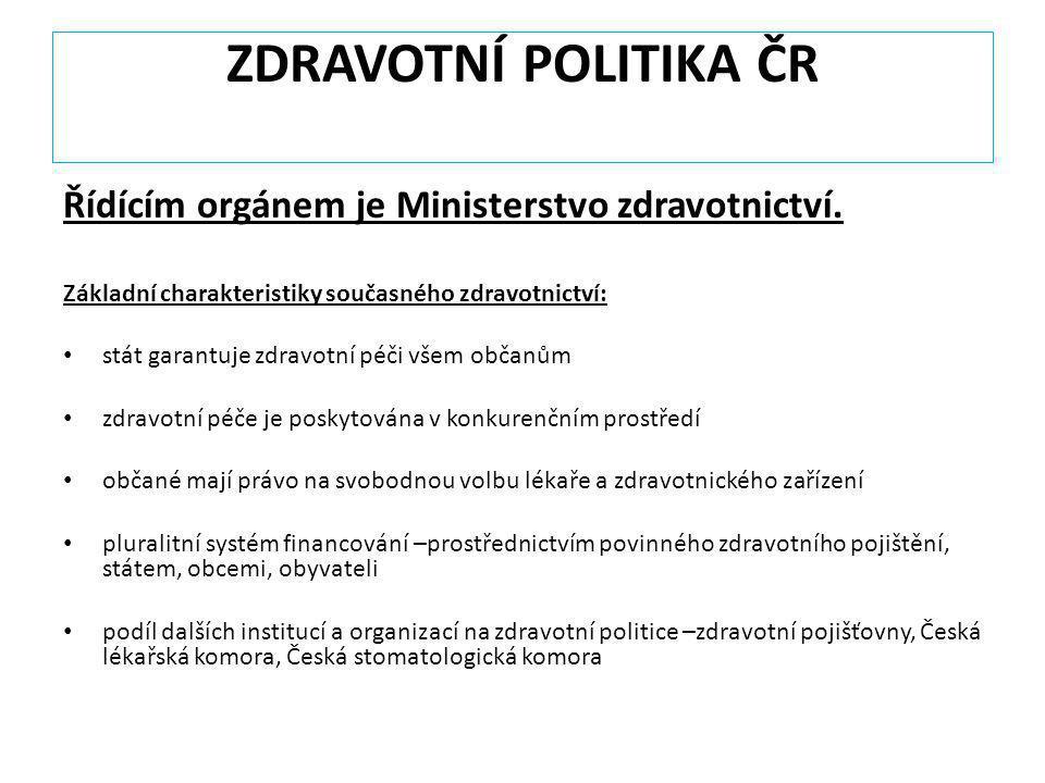 ZDRAVOTNÍ POLITIKA ČR Řídícím orgánem je Ministerstvo zdravotnictví.