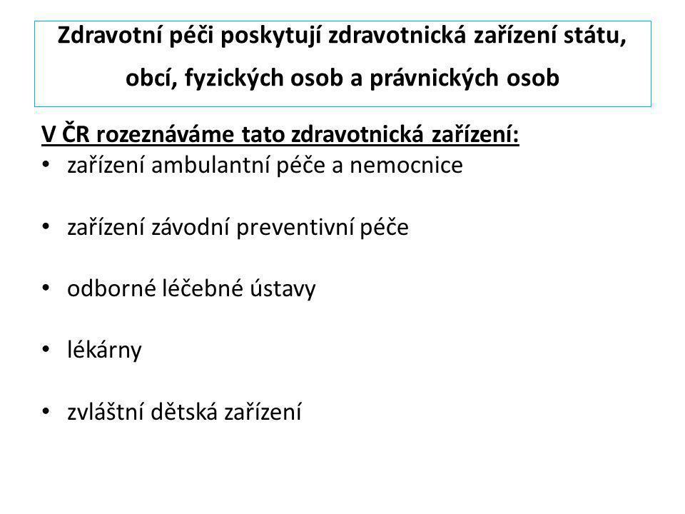 Zdravotní péči poskytují zdravotnická zařízení státu, obcí, fyzických osob a právnických osob