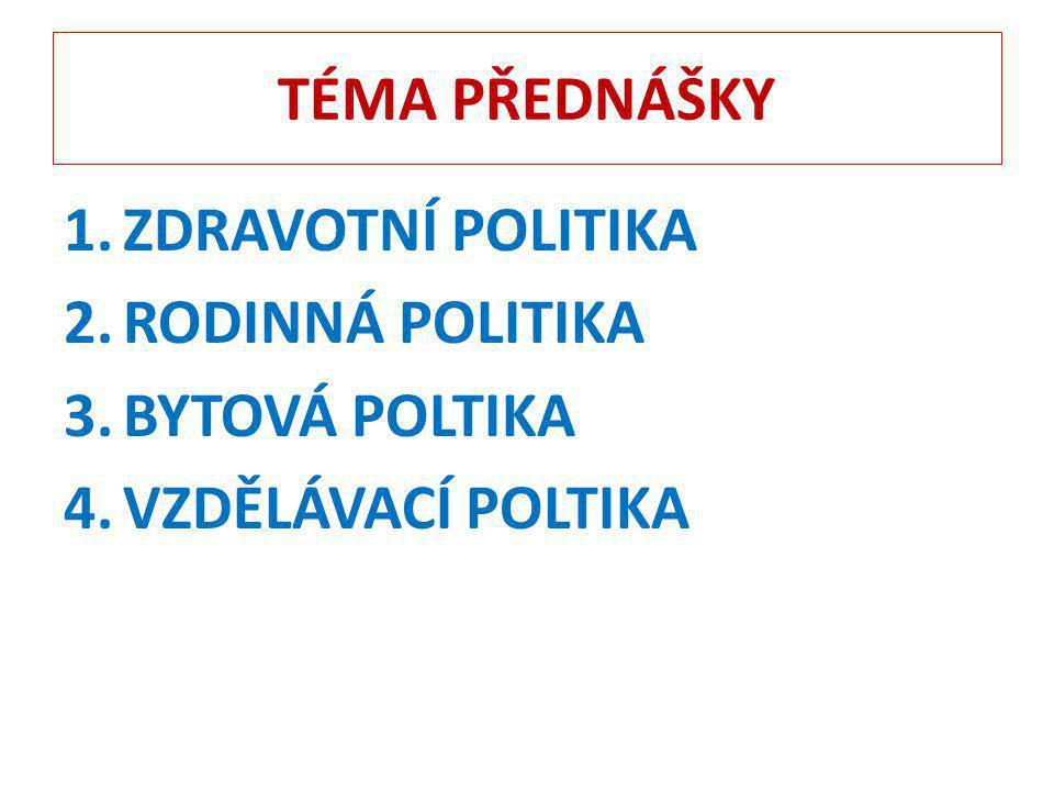 TÉMA PŘEDNÁŠKY ZDRAVOTNÍ POLITIKA RODINNÁ POLITIKA BYTOVÁ POLTIKA VZDĚLÁVACÍ POLTIKA