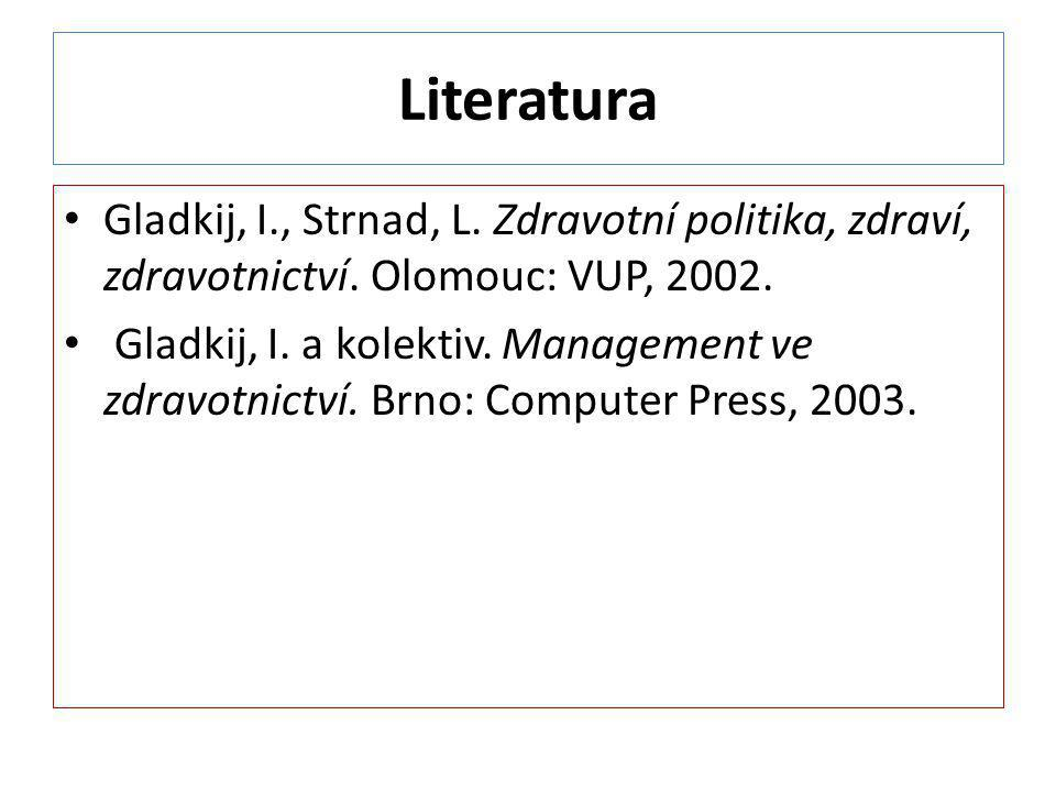 Literatura Gladkij, I., Strnad, L. Zdravotní politika, zdraví, zdravotnictví. Olomouc: VUP, 2002.