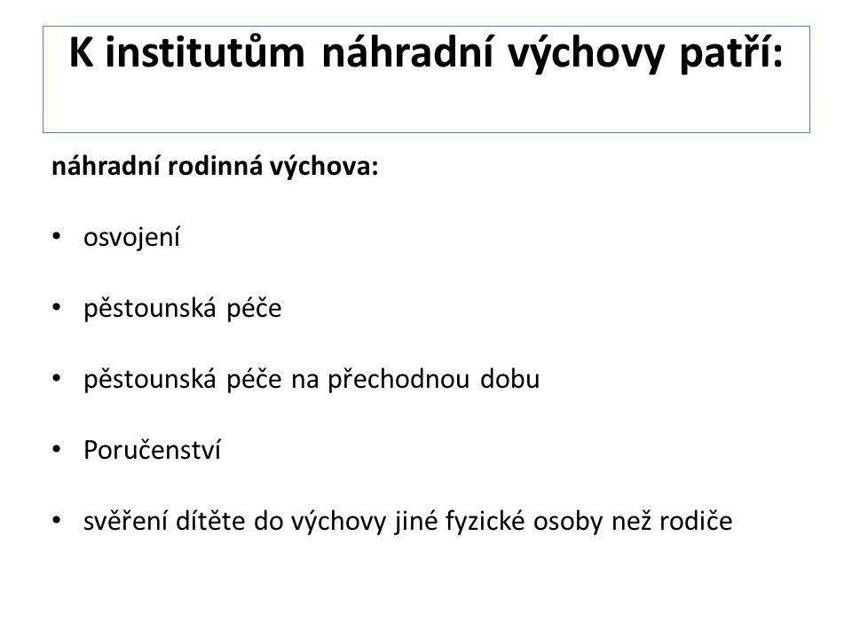 K institutům náhradní výchovy patří: