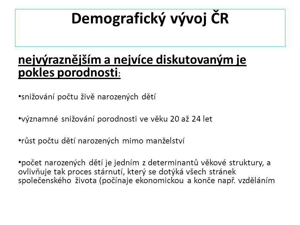 Demografický vývoj ČR nejvýraznějším a nejvíce diskutovaným je pokles porodnosti: snižování počtu živě narozených dětí.