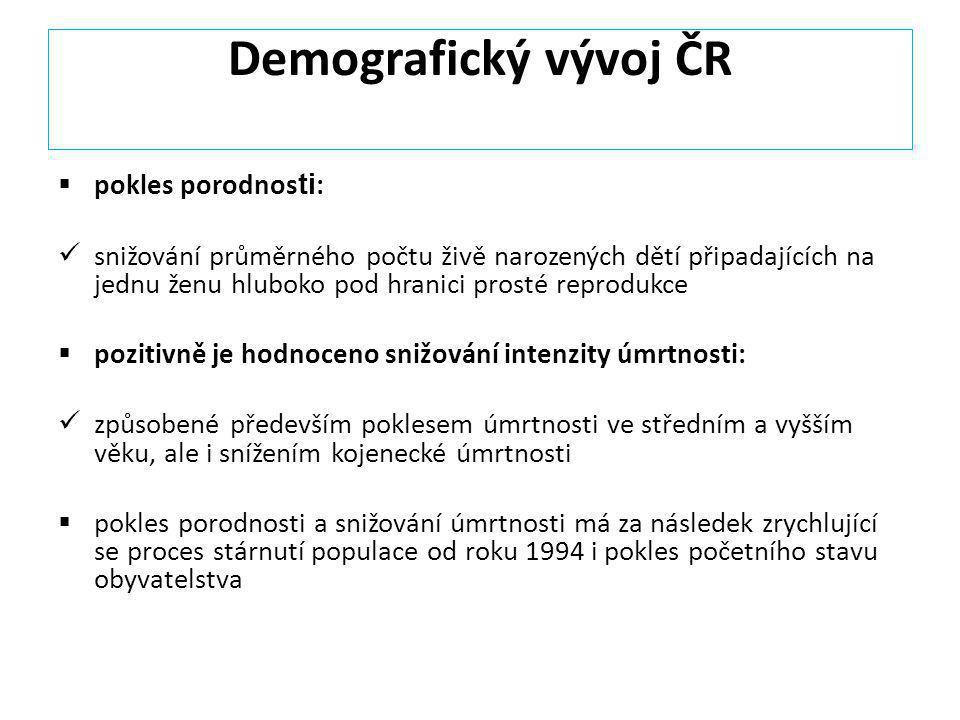Demografický vývoj ČR pokles porodnosti: