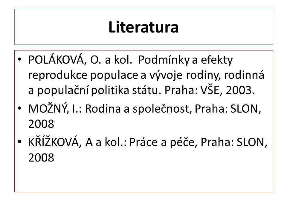 Literatura POLÁKOVÁ, O. a kol. Podmínky a efekty reprodukce populace a vývoje rodiny, rodinná a populační politika státu. Praha: VŠE, 2003.
