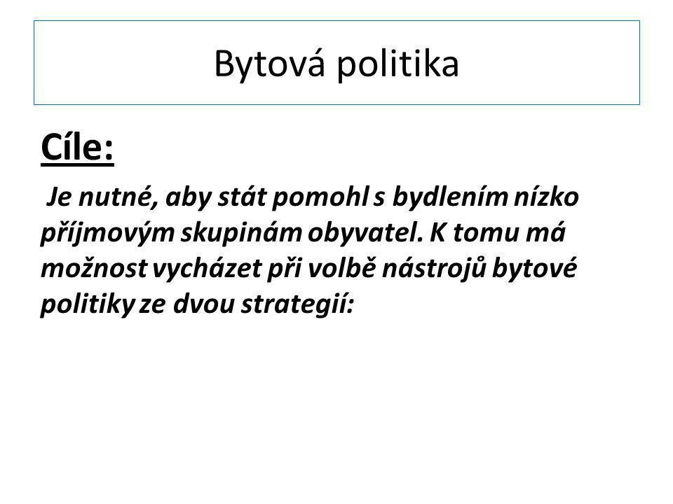 Bytová politika Cíle: