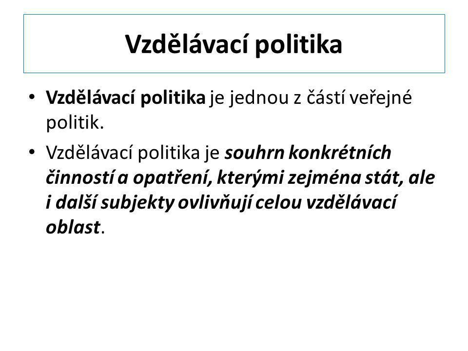 Vzdělávací politika Vzdělávací politika je jednou z částí veřejné politik.