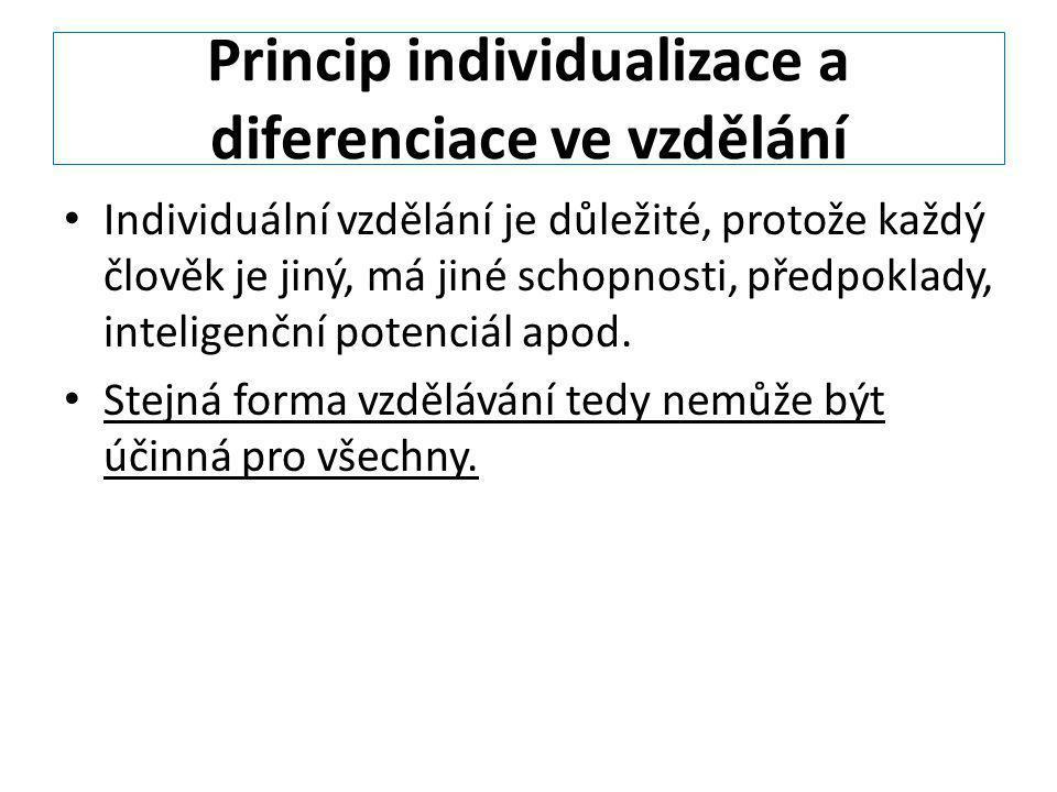 Princip individualizace a diferenciace ve vzdělání
