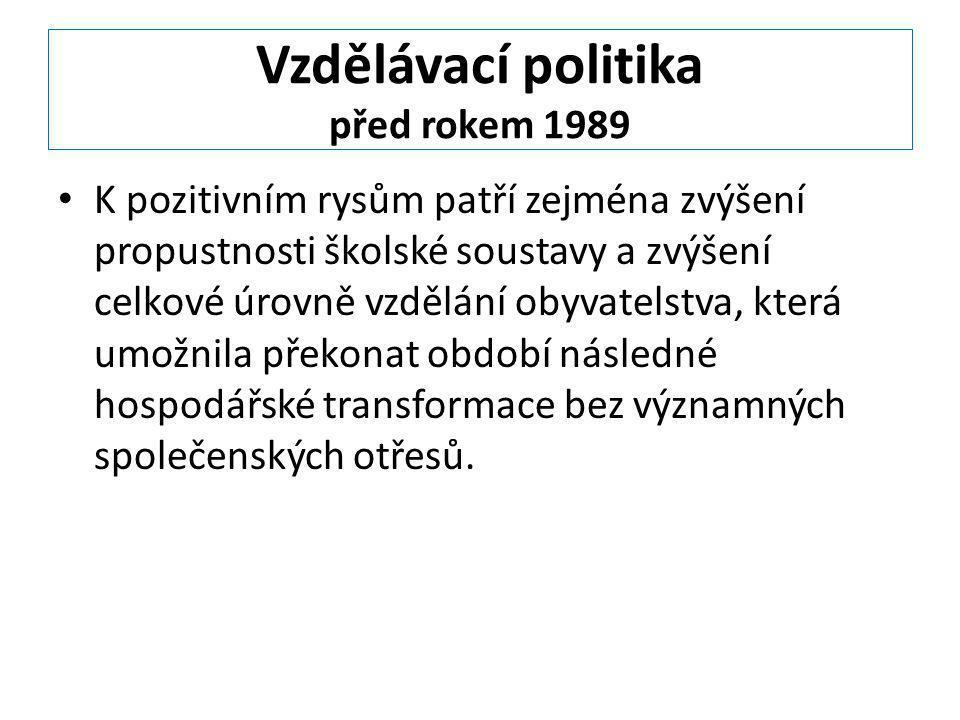 Vzdělávací politika před rokem 1989
