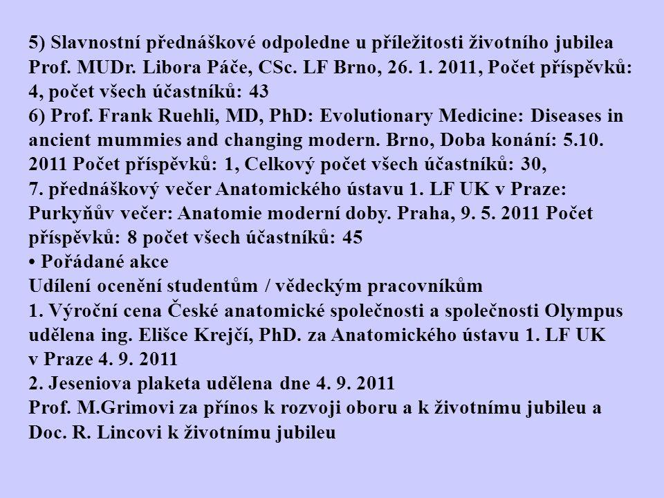 5) Slavnostní přednáškové odpoledne u příležitosti životního jubilea Prof. MUDr. Libora Páče, CSc. LF Brno, 26. 1. 2011, Počet příspěvků: 4, počet všech účastníků: 43