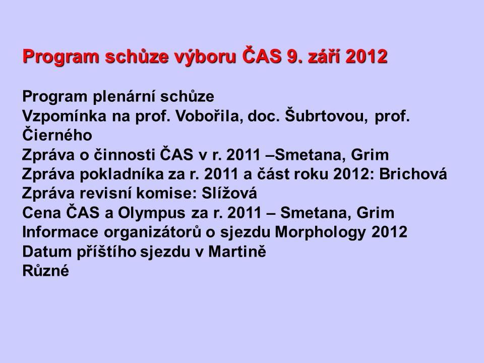 Program schůze výboru ČAS 9. září 2012