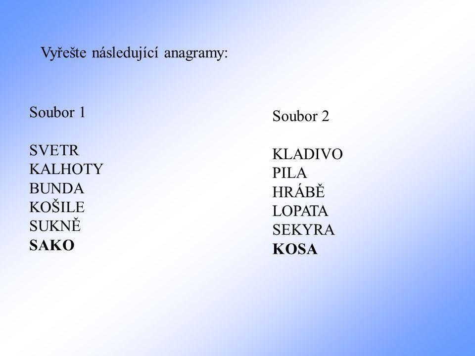 Vyřešte následující anagramy:
