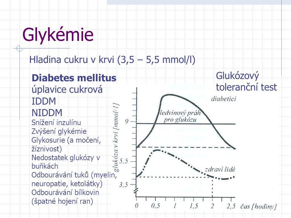 Glykémie Hladina cukru v krvi (3,5 – 5,5 mmol/l)