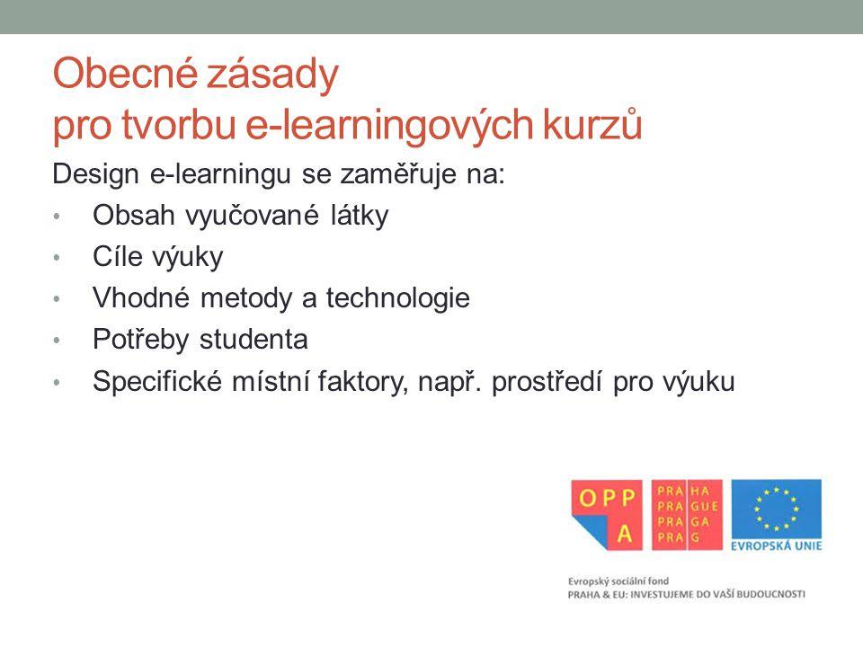 Obecné zásady pro tvorbu e-learningových kurzů
