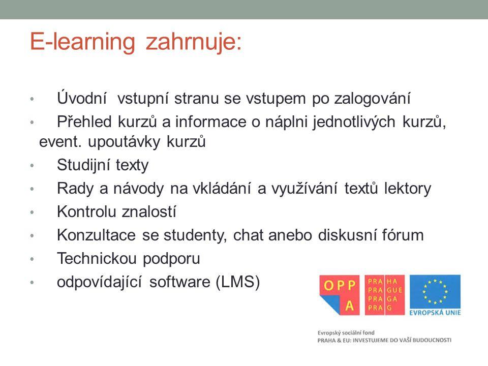 E-learning zahrnuje: Úvodní vstupní stranu se vstupem po zalogování