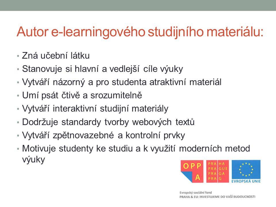 Autor e-learningového studijního materiálu: