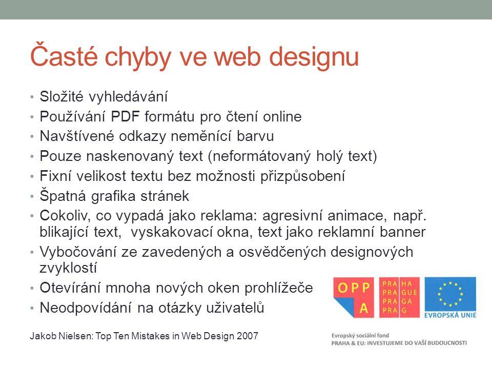 Časté chyby ve web designu
