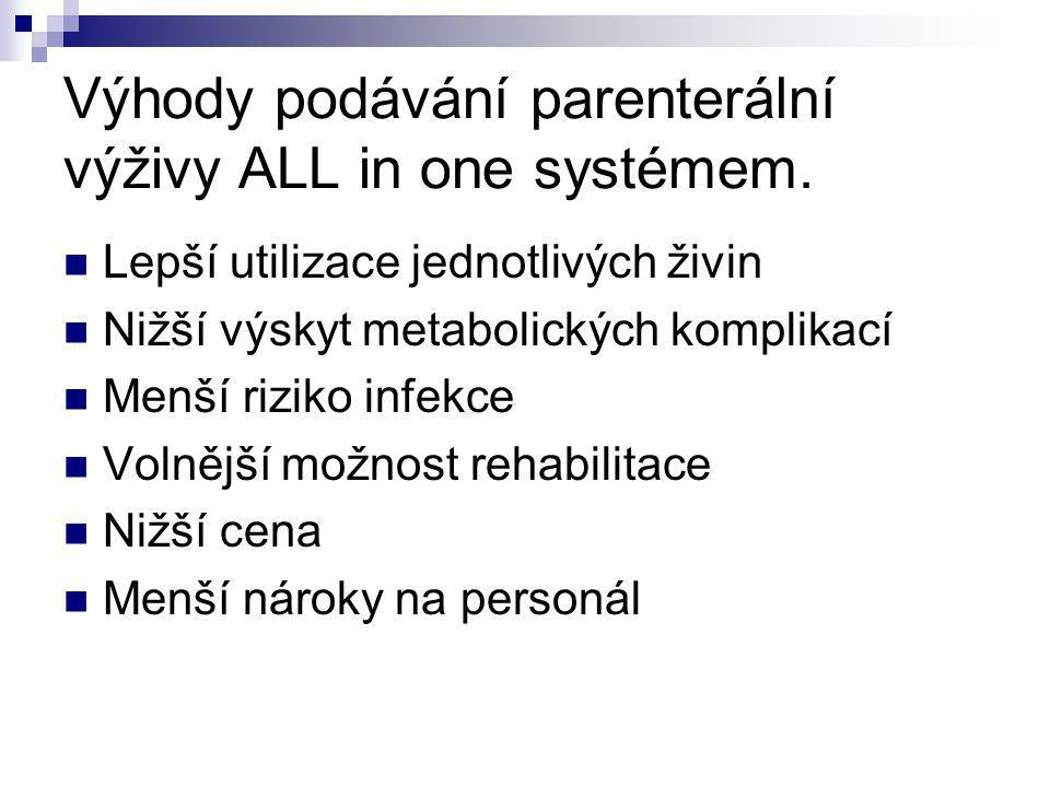 Výhody podávání parenterální výživy ALL in one systémem.